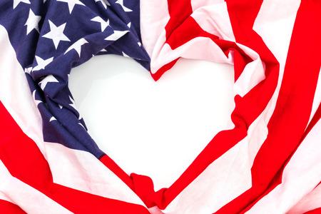 Heart shape American flag on white background . Stock Photo