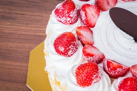 Strawberry ice-cream cake Stock Photo