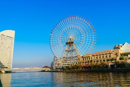 Yokohama,Japan - November 24,2015 : Ferris wheel at cosmo world fun park at minato mirai , Yokohama is the third biggest city in Japan. Editorial