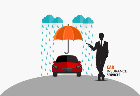 insured: Car insurance business service. Vector illustration concept of insurance.
