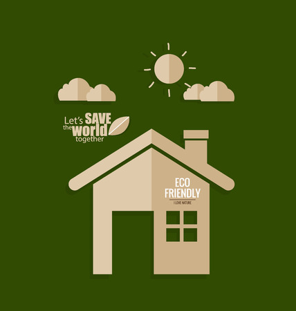 responsibility: Ecology concept. Paper cut of House on green background. Vector illustration. Stock Photo