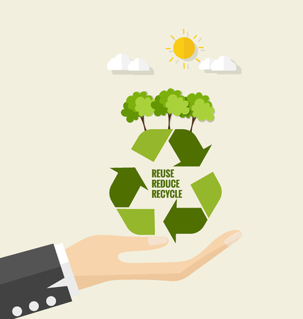 reciclar: Respetuoso del medio ambiente. Concepto de la ecología con el símbolo de reciclaje y el árbol. Ilustración del vector.