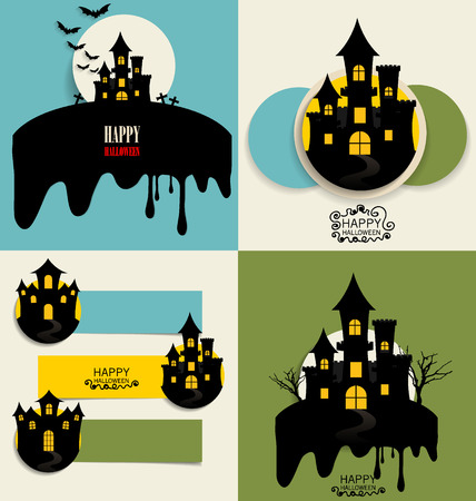 ghost house: Happy Halloween design background and Cute note paper. Vector illustration.