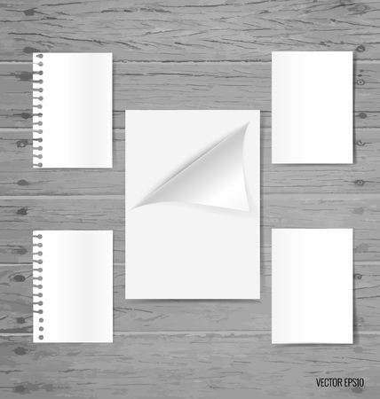 paper note: Blank white paper, note paper, envelope. Vector illustration.