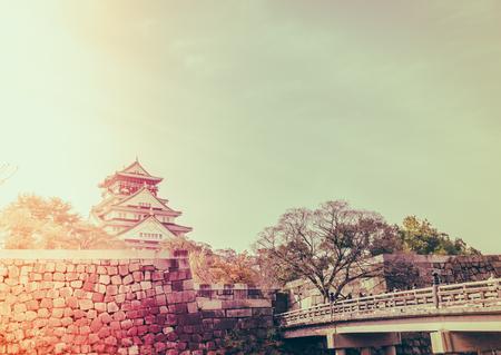 Osaka castle in Osaka Japan ( Filtered image processed vintage effect. ) Editorial