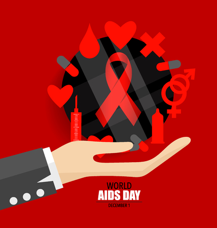 aids virus: World AIDS Day. 1st December World Aids Day poster. Vector illustration.