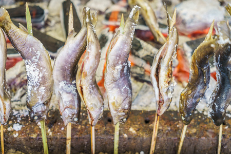 Fish with salt being grilled outdoors in Japan