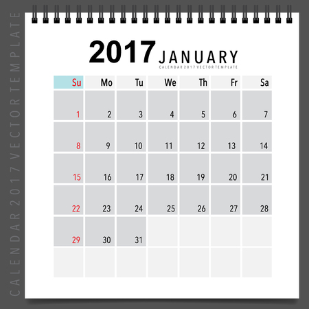 agenda year planner: 2017 Calendar planner design, monthly calendar template for January