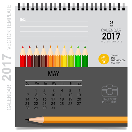 2017 Calendar planner design template. monthly calendar template for May Stock Photo