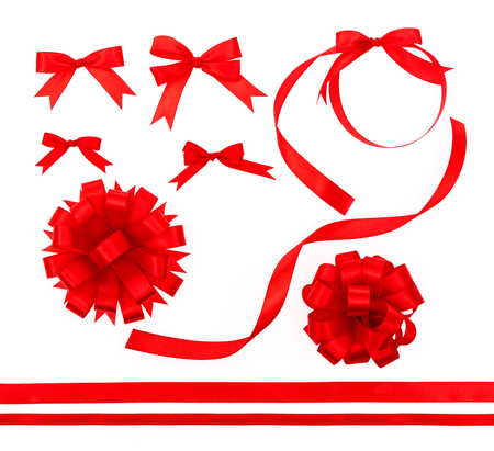 Collection of Shiny red ribbon on white background