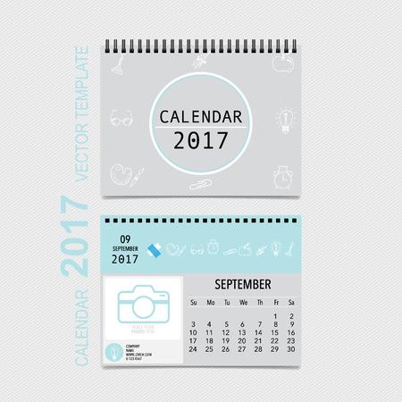 2017 Calendar planner design, monthly calendar template for September