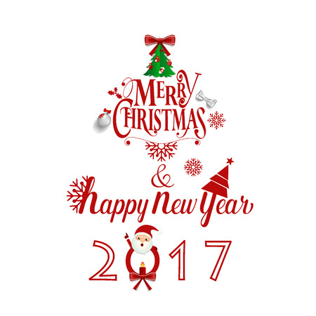 Buon Natale e felice anno nuovo 2017 Greeting Card, illustrazione vettoriale.