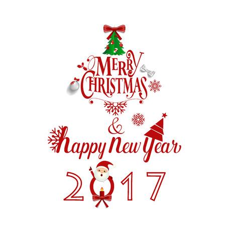 Vrolijk kerstfeest en gelukkig nieuw jaar wenskaart 2017, vector illustratie.