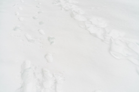 dint: Foot steps on the white snow Stock Photo