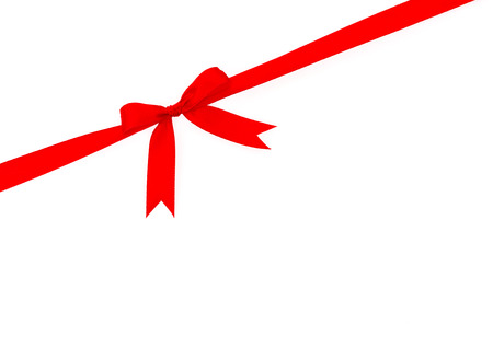Shiny red ribbon on white background with copy space Stock Photo