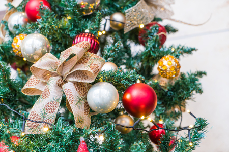 Closeup of Christmas tree decorations background Stock Photo