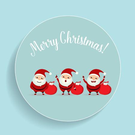 postcard box: Christmas Greeting Card with Christmas Santa Claus. Vector illustration.