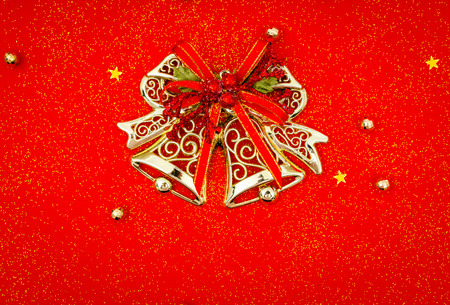 Red christmas background with decoration Stock Photo