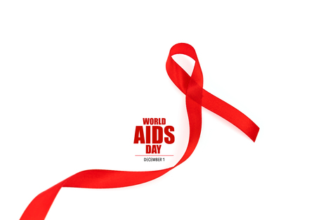 Aids Awareness Red heart Ribbon isolated on white background