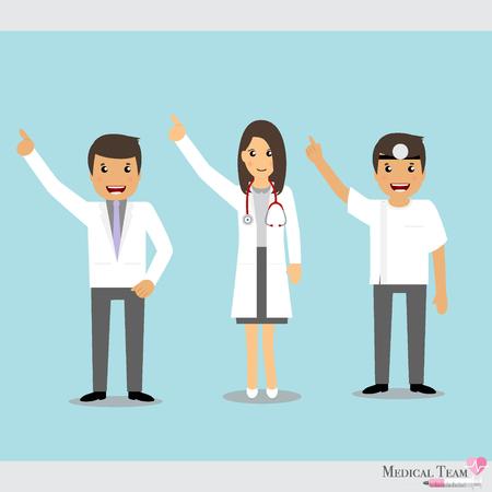 medical team: Set of Cartoon Medical Team (dentist, doctors and medical staff people). Vector illustration.