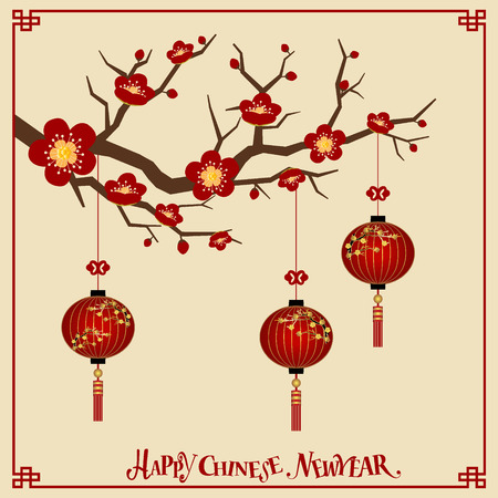 chinatown: Chinese new year background design. Vector Illustration.