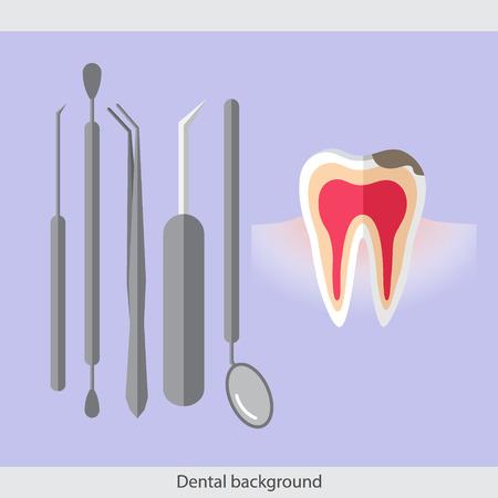 Medical dental background. Teeth, dentist tools and instruments. Vector illustration.