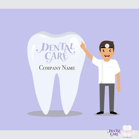 Cartoon Dentist with Healthy Clean Teeth. Vector illustration. Stock Photo