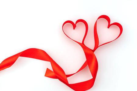 Valentine Heart. Red Silk Ribbon. Love Symbol Stock Photo