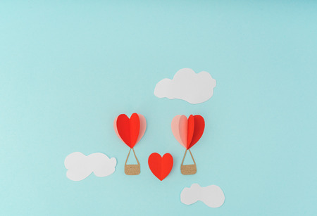 Paper cut of Heart Hot air balloons for Valentines Day celebration