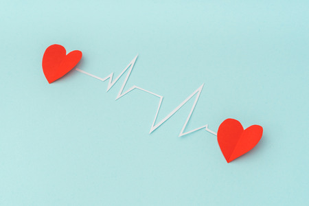 cardiograph: Paper cut of cardiogram of heart rhythm for Valentines Day
