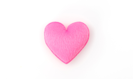 Pink Heart pillow on white background
