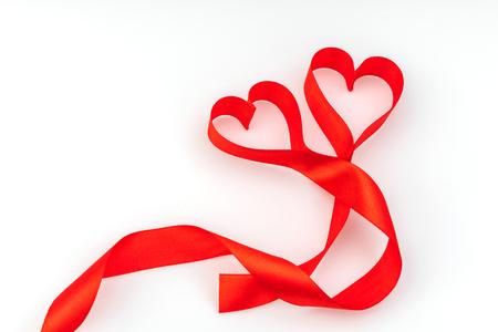valentine heart red silk ribbon love symbol photo - Valentine Ribbon