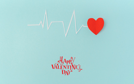 Paper cut of cardiogram of heart rhythm for Valentines Day