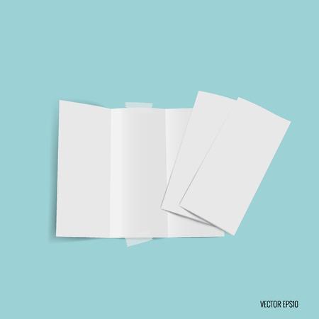 business card holder: Trifold white template paper. Vector illustration. Illustration