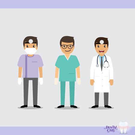 trainee: Set of Cartoon Medical Team (dentist, doctors and medical staff people). Vector illustration.