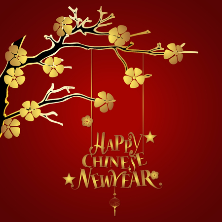 chinatown: Chinese new year background design with Chinese New Year lettering. Vector Illustration. Illustration