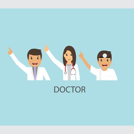 specialist: Set of Cartoon Medical Team (dentist, doctors and medical staff people). Vector illustration.