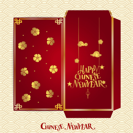chinatown: Chinese New Year Money Red Packet (Ang Pau) Design. Vector Illustration.