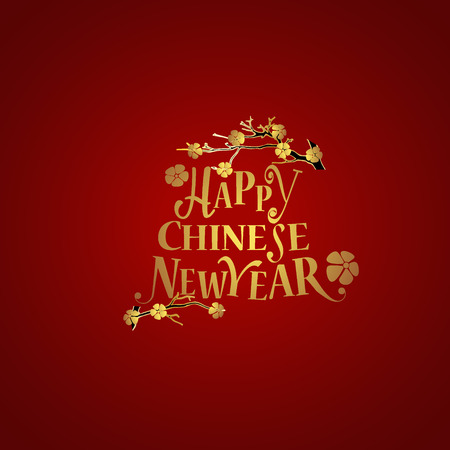 chinese new year card: Chinese new year background design with Chinese New Year lettering. Vector Illustration. Illustration