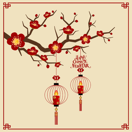 chinese new year card: Chinese new year background design. Vector Illustration.