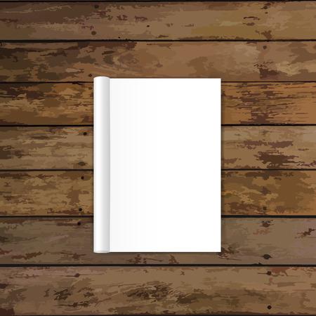 hardcover: Blank catalog, magazines,book mock up on wood background. Vector illustration.