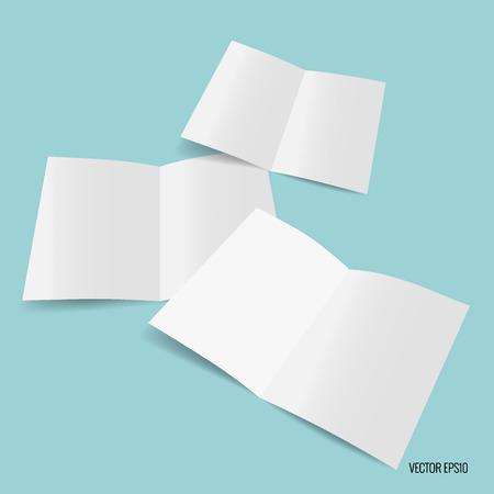 Bifold white template paper. Vector illustration.