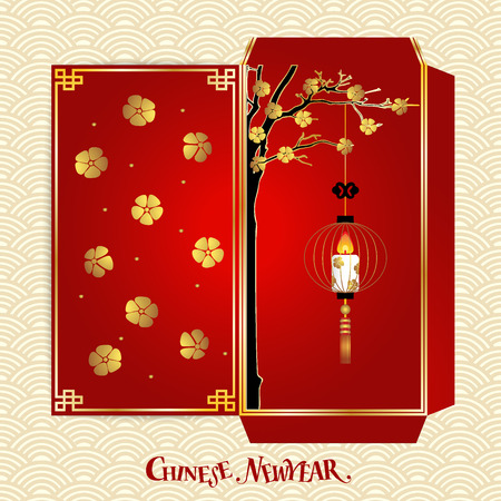 chinese new year card: Chinese New Year Money Red Packet (Ang Pau) Design. Vector Illustration.