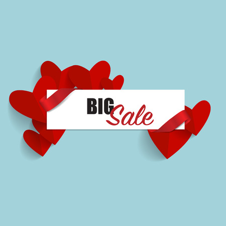 Sale Coupon, voucher, tag. Valentine`s Day card. Vector illustration.