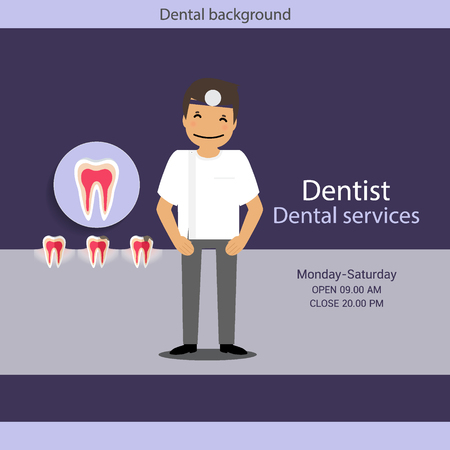 specialist: Medical dental background design. Dentist with teeth. Vector illustration.