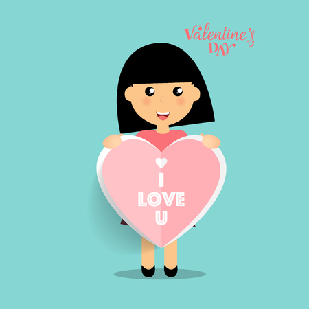 Valentines day background design with Cute girl. Vector illustration.