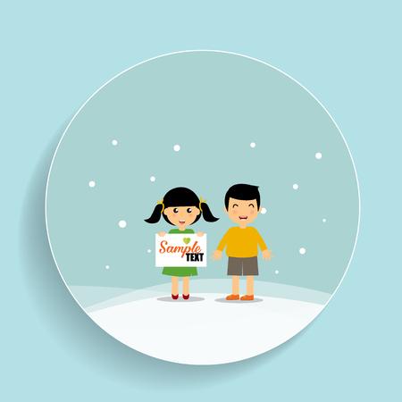 Cute children. Vector Illustration.