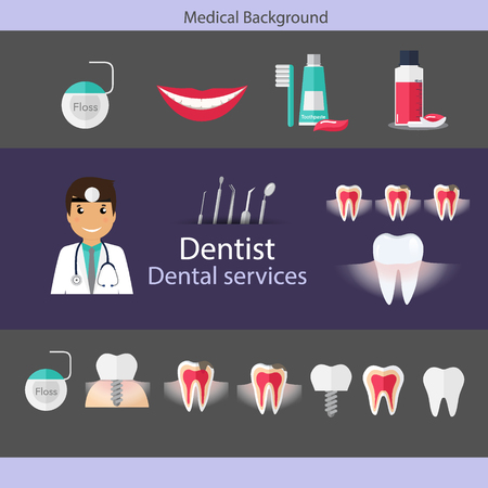 Medical dental background design. Dentist with teeth, drugs, dentist tools and instruments. Vector illustration.