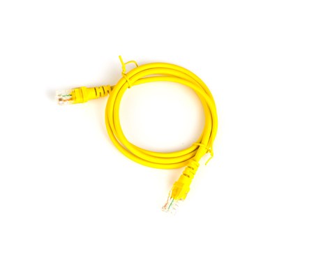 Yellow network cable  on white