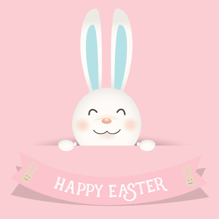 Happy easter background design. Happy easter cards with Easter bunnies. Vector illustration. Illustration